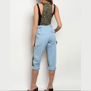 Color block Leopard & Blue Overall/Jumper